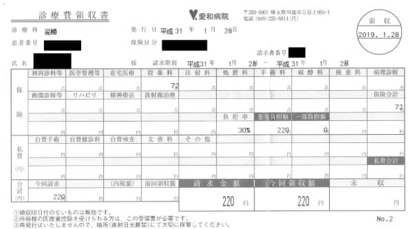 川越市「愛和病院」妊娠5カ月目の健診費用