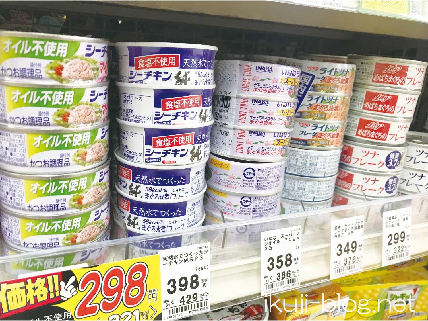 スーパーの売り場に並ぶツナ缶